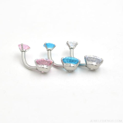 Image of Zircon Crystal Double Ball Navel Piercing - Custom Made | Free Shipping