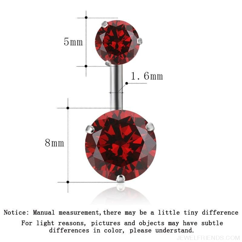Zircon Crystal Double Ball Navel Piercing - Custom Made | Free Shipping