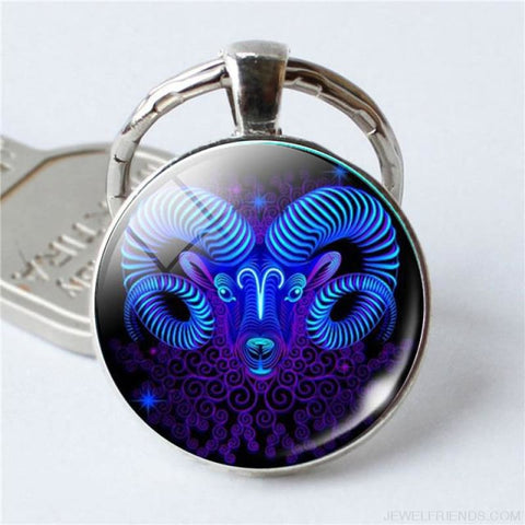 Zodiac Sign Blue Round Keychain - Aries - Custom Made | Free Shipping