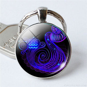 Zodiac Sign Blue Round Keychain