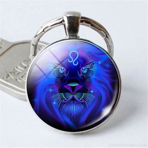Zodiac Sign Blue Round Keychain - Leo - Custom Made | Free Shipping