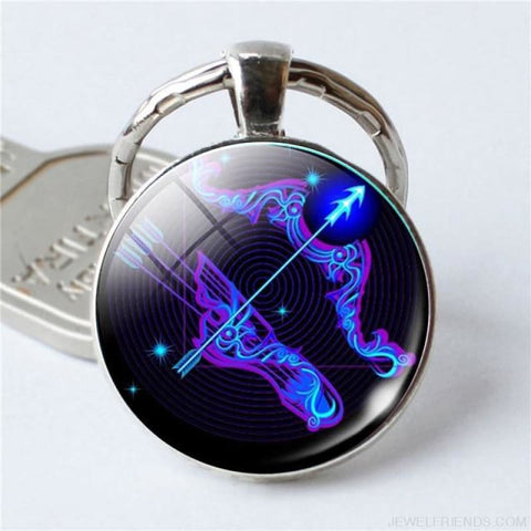 Image of Zodiac Sign Blue Round Keychain - Sagittarius - Custom Made | Free Shipping