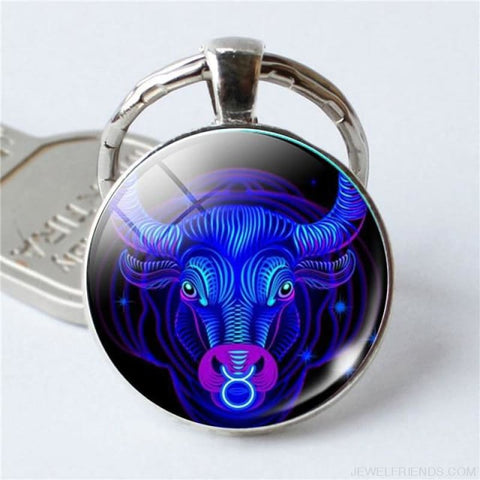 Zodiac Sign Blue Round Keychain - Taurus - Custom Made | Free Shipping