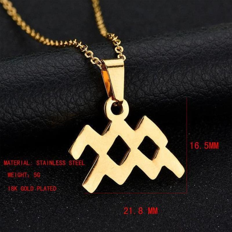 Zodiac Sign Charm Gold Color Necklace 316L Stainless Steel - Aquarius - Custom Made | Free Shipping