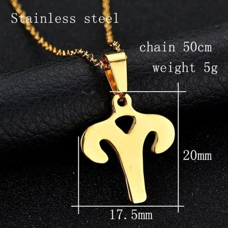 Zodiac Sign Charm Gold Color Necklace 316L Stainless Steel - Aries - Custom Made | Free Shipping