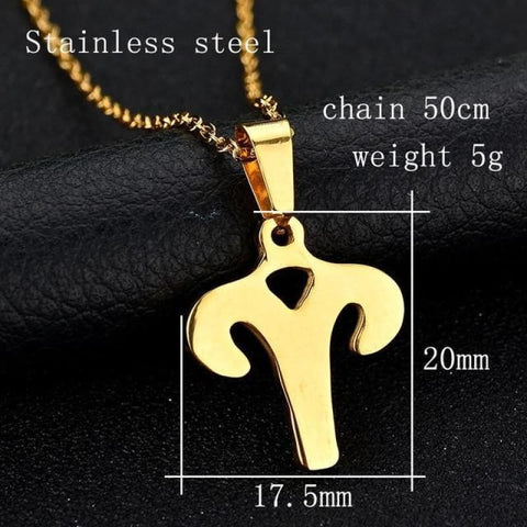 Image of Zodiac Sign Charm Gold Color Necklace 316L Stainless Steel - Aries - Custom Made | Free Shipping