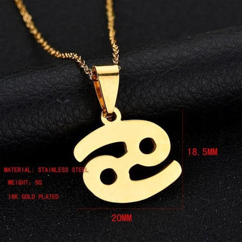Image of Zodiac Sign Charm Gold Color Necklace 316L Stainless Steel - Cancer - Custom Made | Free Shipping