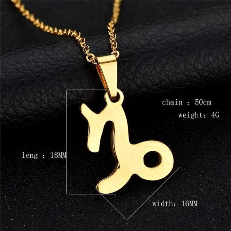 Zodiac Sign Charm Gold Color Necklace 316L Stainless Steel - Capricorn - Custom Made | Free Shipping
