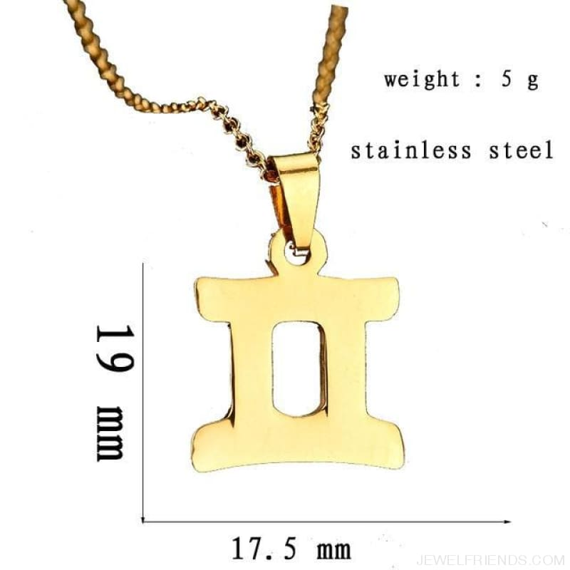Zodiac Sign Charm Gold Color Necklace 316L Stainless Steel - Gemini - Custom Made | Free Shipping