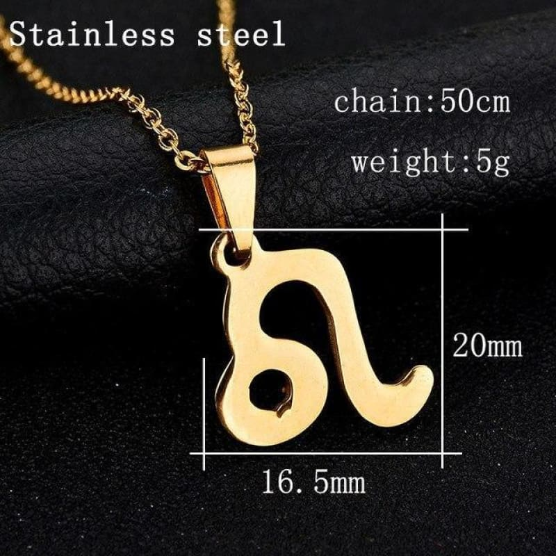 Zodiac Sign Charm Gold Color Necklace 316L Stainless Steel - Leo - Custom Made | Free Shipping
