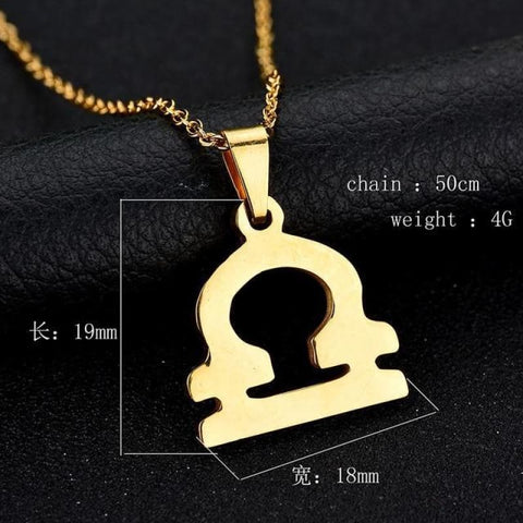 Zodiac Sign Charm Gold Color Necklace 316L Stainless Steel - Libra - Custom Made | Free Shipping