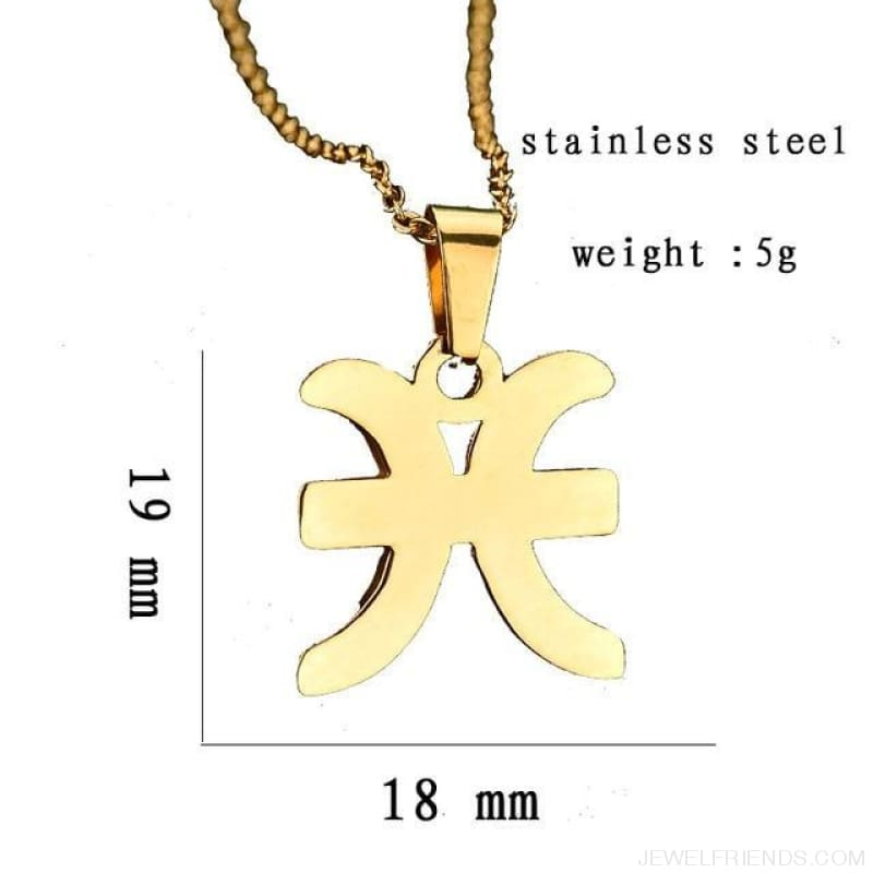 Zodiac Sign Charm Gold Color Necklace 316L Stainless Steel - Pisces - Custom Made | Free Shipping