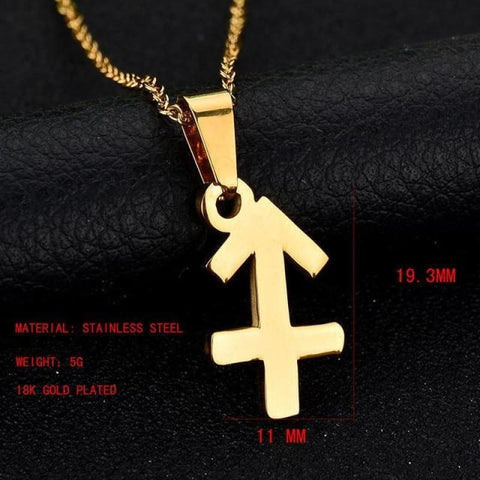 Image of Zodiac Sign Charm Gold Color Necklace 316L Stainless Steel - Sagittarius - Custom Made | Free Shipping