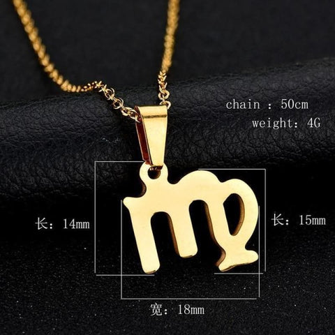 Image of Zodiac Sign Charm Gold Color Necklace 316L Stainless Steel - Virgo - Custom Made | Free Shipping