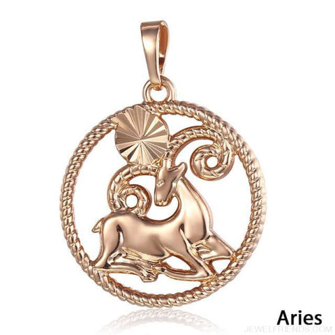 Zodiac Sign Rose Gold Round Pendant Necklace - Gp253 Aries - Custom Made | Free Shipping