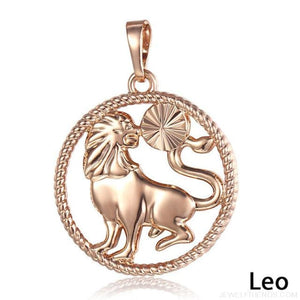 Zodiac Sign Rose Gold Round Pendant Necklace