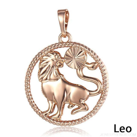 Zodiac Sign Rose Gold Round Pendant Necklace - Gp257 Leo - Custom Made | Free Shipping