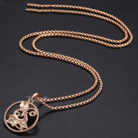 Zodiac Sign Rose Gold Round Pendant Necklace - Custom Made | Free Shipping