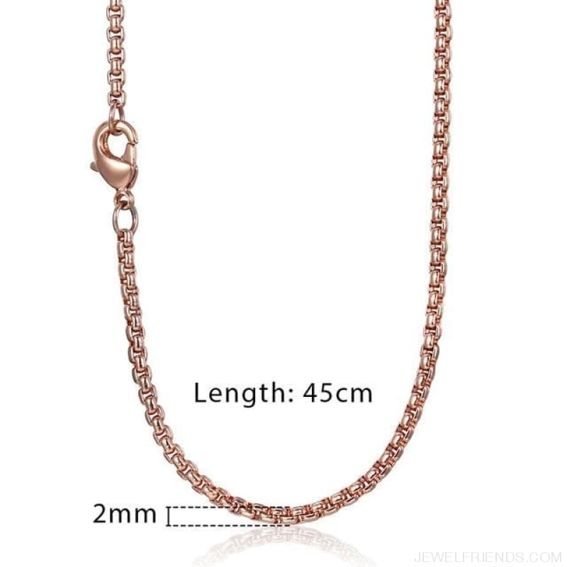 Zodiac Sign Rose Gold Round Pendant Necklace - Kn555 Chain 45Cm - Custom Made | Free Shipping