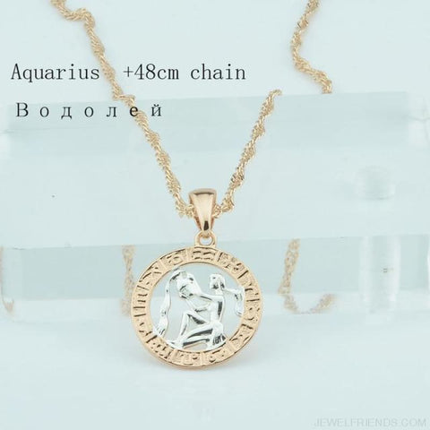 Zodiac Sign Rose White Circle Twisted Chain Necklaces - Aquarius Chain - Custom Made | Free Shipping