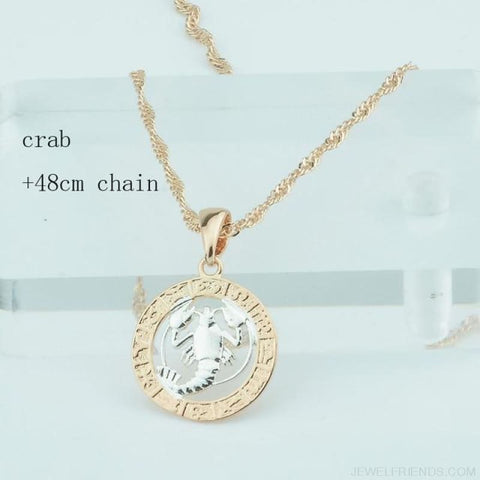 Image of Zodiac Sign Rose White Circle Twisted Chain Necklaces - Crab Chain - Custom Made | Free Shipping