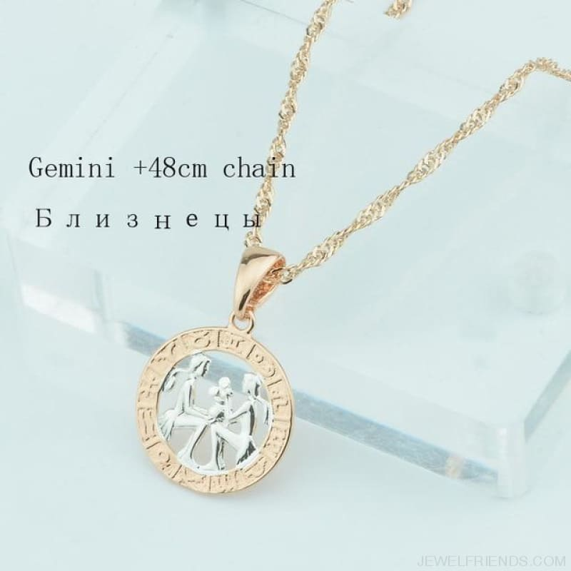 Zodiac Sign Rose White Circle Twisted Chain Necklaces - Gemini Chain - Custom Made | Free Shipping