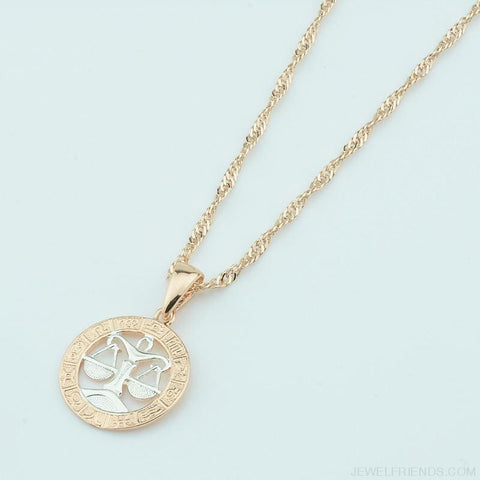 Image of Zodiac Sign Rose White Circle Twisted Chain Necklaces - Custom Made | Free Shipping