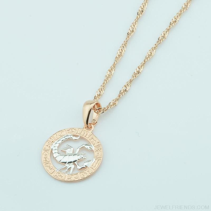 Zodiac Sign Rose White Circle Twisted Chain Necklaces - Custom Made | Free Shipping