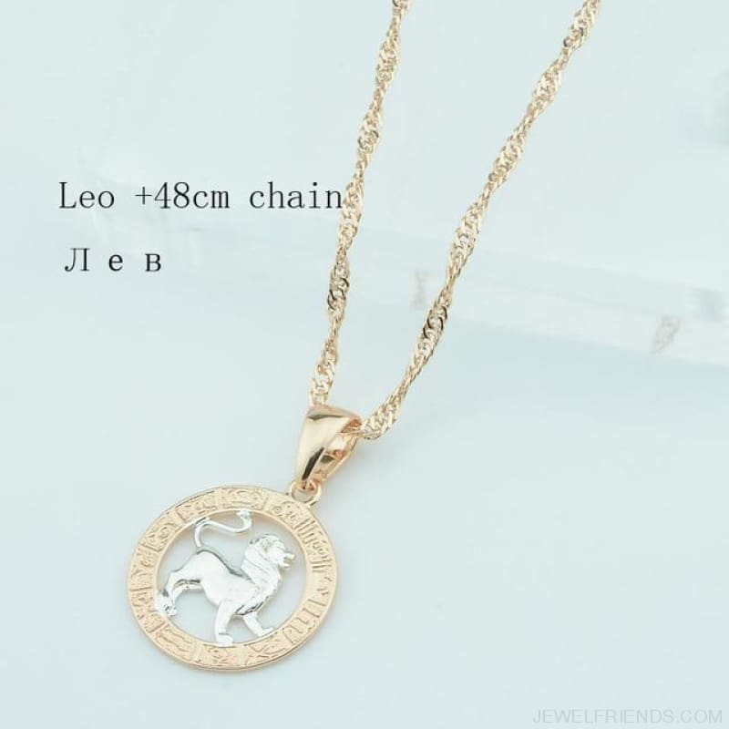 Zodiac Sign Rose White Circle Twisted Chain Necklaces - Leo Chain - Custom Made | Free Shipping