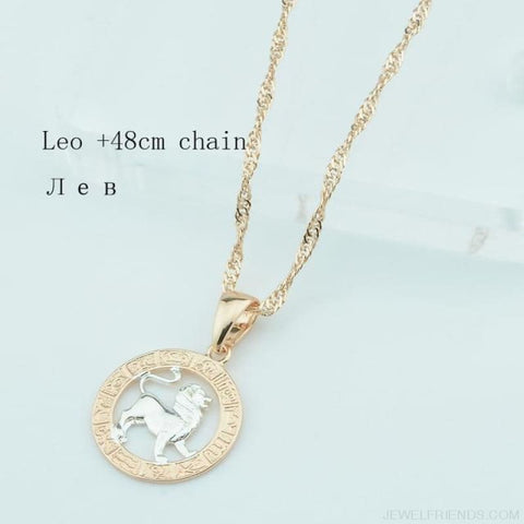Image of Zodiac Sign Rose White Circle Twisted Chain Necklaces - Leo Chain - Custom Made | Free Shipping