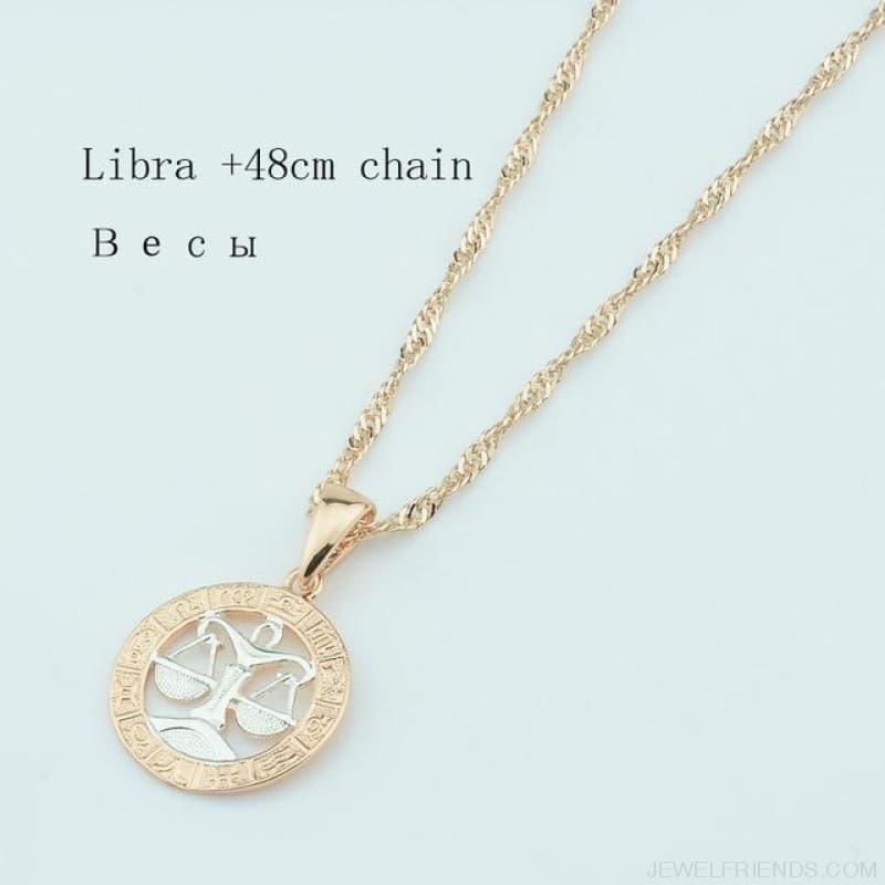 Zodiac Sign Rose White Circle Twisted Chain Necklaces - Libra Chain - Custom Made | Free Shipping