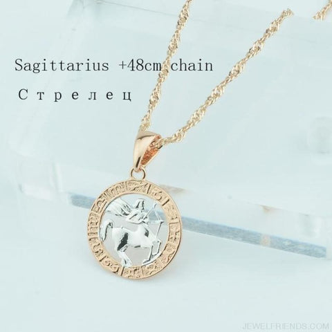 Image of Zodiac Sign Rose White Circle Twisted Chain Necklaces - Sagittarius Chain - Custom Made | Free Shipping