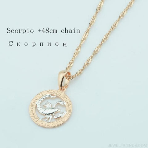 Image of Zodiac Sign Rose White Circle Twisted Chain Necklaces - Scorpio Chain - Custom Made | Free Shipping