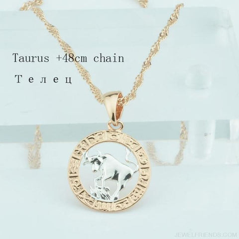 Image of Zodiac Sign Rose White Circle Twisted Chain Necklaces - Taurus Chain - Custom Made | Free Shipping
