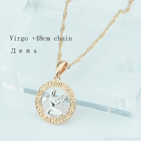 Image of Zodiac Sign Rose White Circle Twisted Chain Necklaces - Virgo Chain - Custom Made | Free Shipping