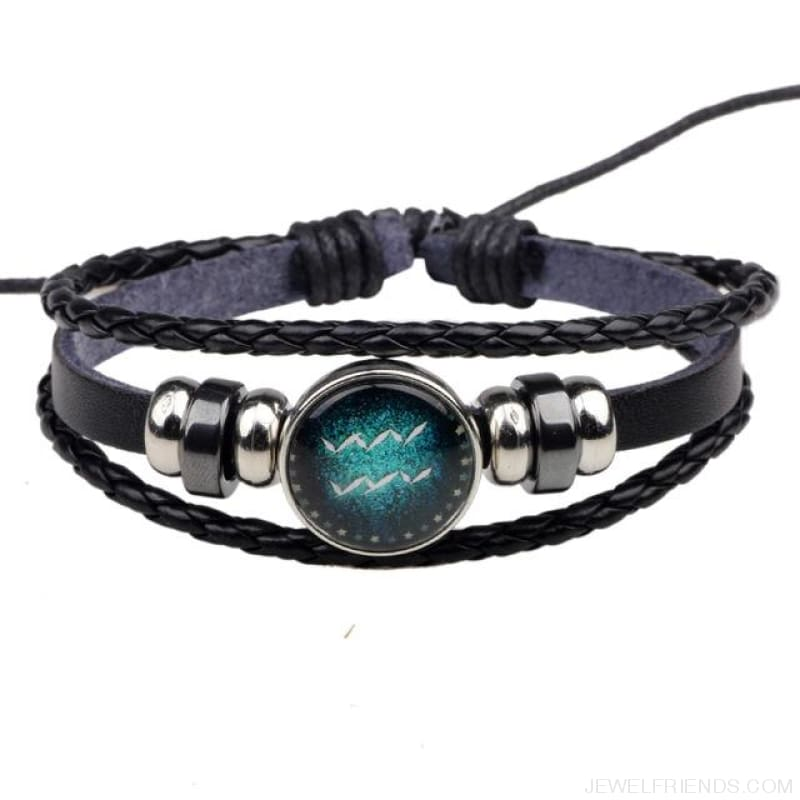 Zodiac Signs Bracelet Beaded Handmade Leather Bracelet - Aquarius - Custom Made | Free Shipping