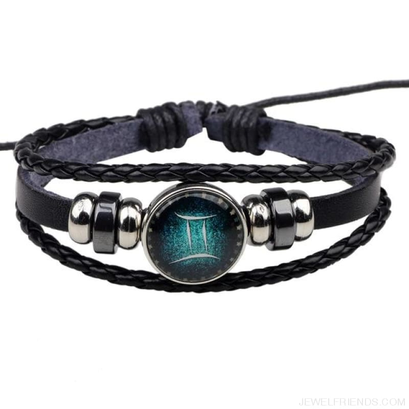 Zodiac Signs Bracelet Beaded Handmade Leather Bracelet - Gemini - Custom Made | Free Shipping