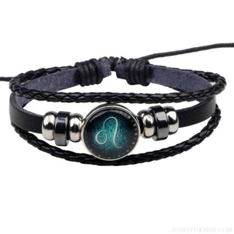 Image of Zodiac Signs Bracelet Beaded Handmade Leather Bracelet - Leo - Custom Made | Free Shipping