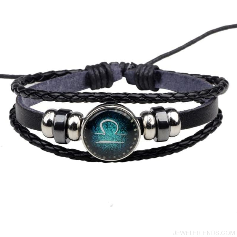 Zodiac Signs Bracelet Beaded Handmade Leather Bracelet - Libra - Custom Made | Free Shipping