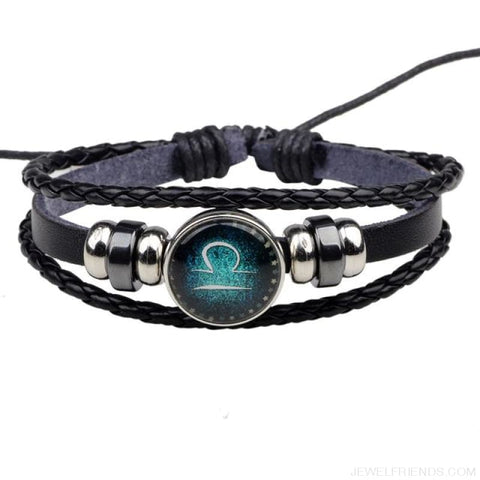 Image of Zodiac Signs Bracelet Beaded Handmade Leather Bracelet - Libra - Custom Made | Free Shipping