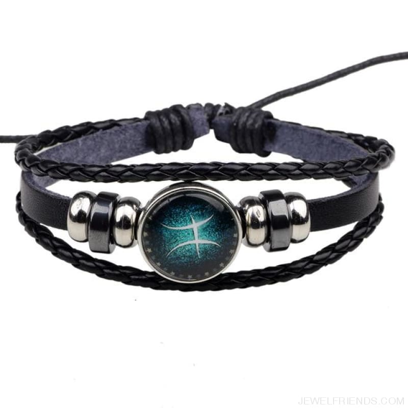 Zodiac Signs Bracelet Beaded Handmade Leather Bracelet - Pisces - Custom Made | Free Shipping