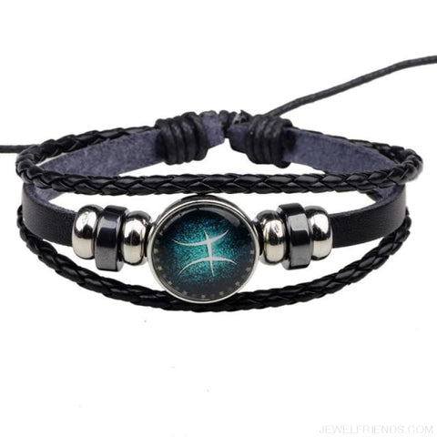 Image of Zodiac Signs Bracelet Beaded Handmade Leather Bracelet - Pisces - Custom Made | Free Shipping