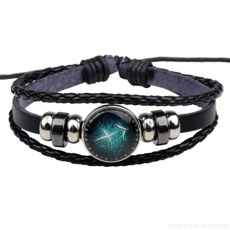 Zodiac Signs Bracelet Beaded Handmade Leather Bracelet - Sagittarius - Custom Made | Free Shipping