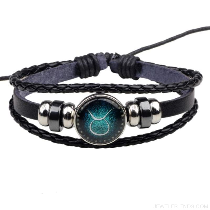 Zodiac Signs Bracelet Beaded Handmade Leather Bracelet - Taurus - Custom Made | Free Shipping