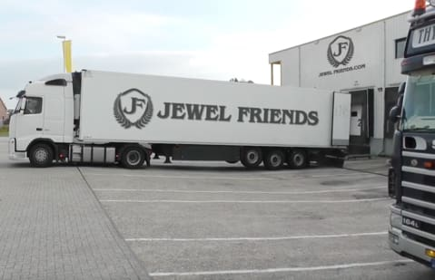 a truck is parked in a parking lot