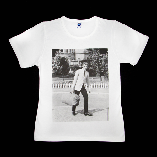 Premium organic white T-shirt, Johnny Hallyday