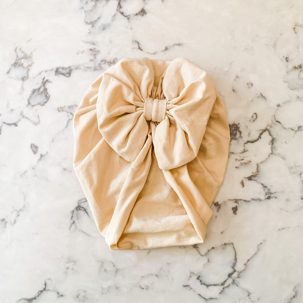 Cream Bow Turban