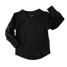 Load image into Gallery viewer, Little Bipsy Long Sleeve Pocket Tee - Black