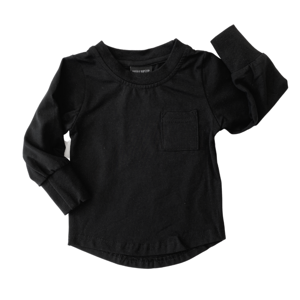 Little Bipsy Long Sleeve Pocket Tee - Black
