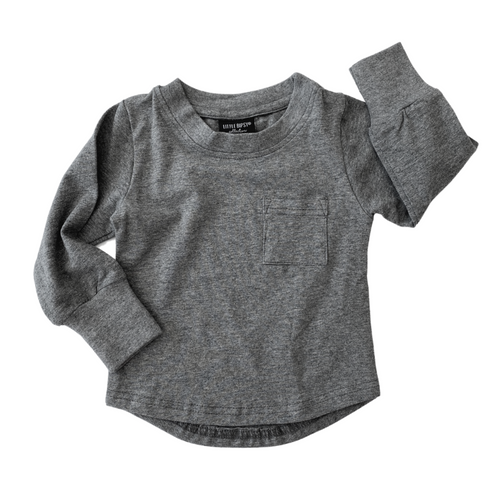 Little Bipsy Long Sleeve Pocket Tee - Charcoal